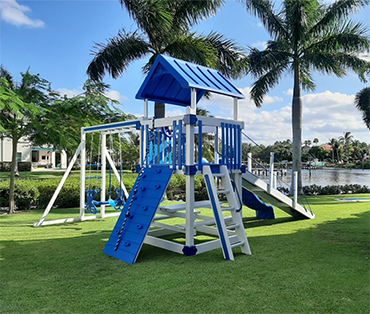Waterfront vinyl playset installation in Fort Lauderdale