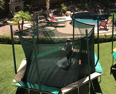 Magic Circle 14' Hexagon trampoline sold and installed by Play King, Davie Florida