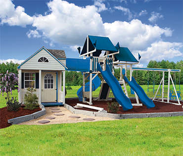 Swing Kingdom SK-60 Cottage Escape kids vinyl playhouse, sold installed serviced by Play King, Davie Florida