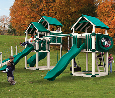 Swing Kingdom makes vinyl playsets and swingsets, including the Double Tower range. Sold, installed, and serviced by Play King in Davie Florida.