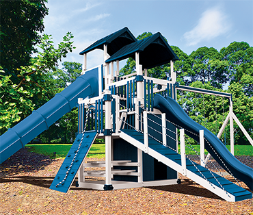 Swing Kingdom Double Tower RL-10 Cliff Lookout, vinyl playset sold, installed, serviced by Play King, South Florida Woodplay dealer