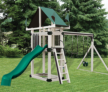 Swing Kingdom Kastle Tower A-3 Deluxe vinyl playset swingset sold, installed, and serviced by Play King, Davie, Florida