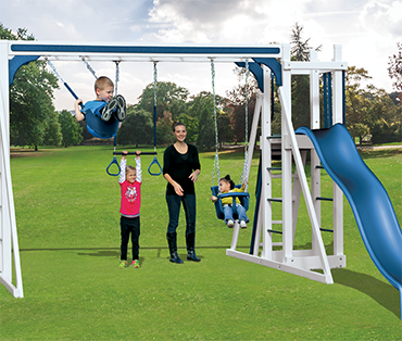 Swing Kingdom Kastle Tower A-1 Standard Climber vinyl playset from Play King, Davie, Florida