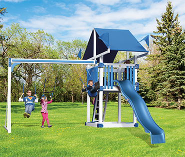Swing Kingdom Kastle Tower KC-3 Deluxe vinyl playset swingset from Play King, Davie, Florida.