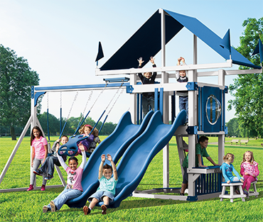 Swing Kingdowm Kastle Tower KC-7 Deluxe Vinyl playset from Play King, Davie Florida