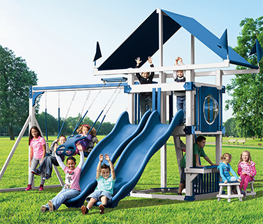 Swing Kingdom Kastle Tower vinyl playsets sold, installed, and serviced by Play King, Davie Florida