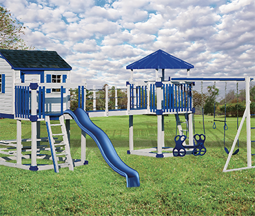 Swing Kingdom Kids Vinyl Playhouse C-5 Castle  sold, installed, serviced by Play King, South Florida swing set dealer