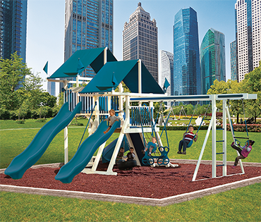 Swing Kingdom Mountain Climbers vinyl playsets and swingsets, available at Play King, Davie Florida.