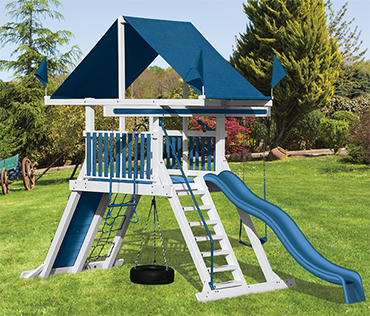 Swing Kingdom Mountain Climber SK-5 vinyl playset sold, installed, serviced by Play King, South Florida swing set dealer