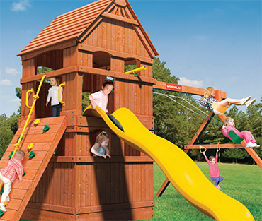 Woodplay Monkey Tower-G, cedar playset sold, installed, serviced by Play King, South Florida Woodplay dealer
