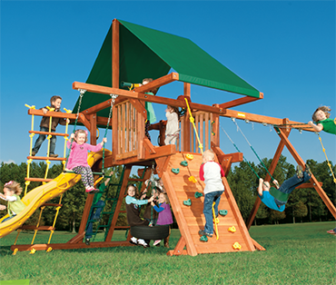 Woodplay Outback 5-A cedar playset sold, installed, serviced by Play King, South Florida Woodplay dealer