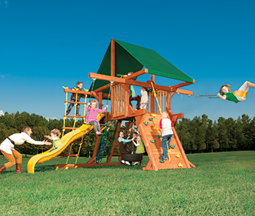 Woodplay Outback 5' Space Saver OB.SS1 playset available in cedar- from the Woodplay Space Saver lineup.
