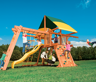 Woodplay Outback 5'Space Saver OB.SS2 cedar wood playset from Play King, Davie Florida