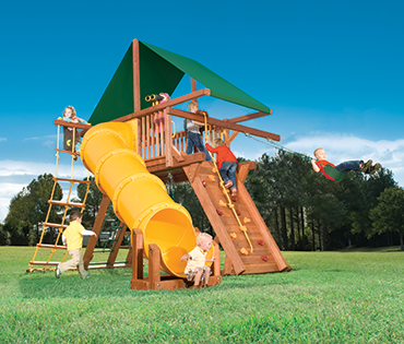 Woodplay Outback 6', Space Saver playset with Tube Slide sold, installed, serviced by Play King, South Florida Woodplay dealer