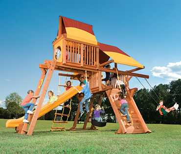 Woodplay Outback Space Saver OB.SS4 wood playset from Play King, swing set