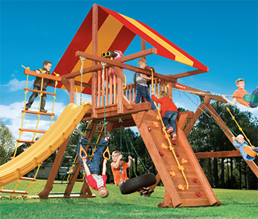 Woodplay Outback 6-A, cedar playset sold, installed, serviced by Play King, South Florida Woodplay dealer