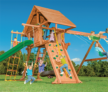 Woodplay Outback 7'-B Angle Base playset swingset from Play King, Davie Florida.Woodplay dealer for sales, installation, and service