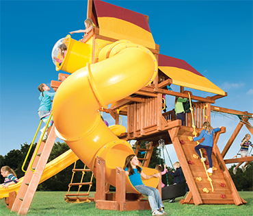 Woodplay Outback 6'-B cedar playset sold, installed, serviced by Play King, South Florida Woodplay dealer