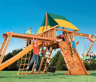 Woodplay Playhouse XL 7' B cedar playset from Play King, Fort Lauderdale Florida