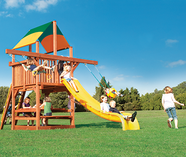 Woodplay Playhouse 5' cedar wood Space Saver playset with Double Swing Arm sold, installed, serviced by Play King, South Florida Woodplay dealer