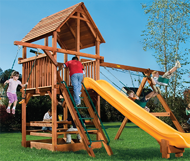 Woodplay Playhouse 6' A cedar playset sold, installed, serviced by Play King, South Florida Woodplay dealer