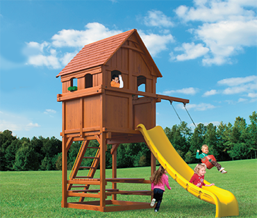 Woodplay Playhouse 6' F cedar playset sold, installed, serviced by Play King, South Florida Woodplay dealer