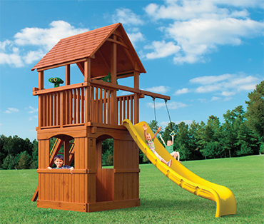 Woodplay Playhouse 6' G cedar playset sold, installed, serviced by Play King, South Florida Woodplay dealer