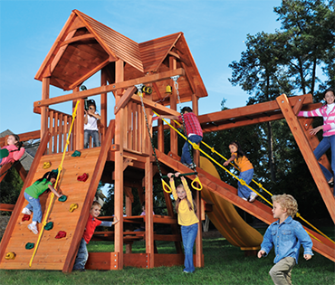 Woodplay Playhouse 6'-B XL cedar playset sold, installed, serviced by Play King, South Florida Woodplay dealer