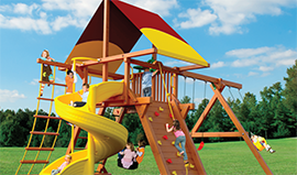 Woodplay cedar wood playsets and swingsets-quality from Play King, Davie,Florida